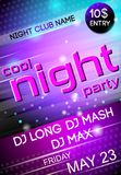 Night party poster. Nightclub disco party Friday night advertising event billboard poster vector illustration Stock Photography