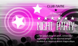 Night party poster with place for text. Colorful background with stars. Vector Illustration royalty free illustration