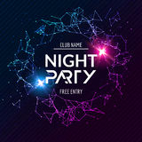 Night Party poster. Shiny banner club disco. Dj dance summer invitation.  Stock Image