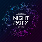 Night Party poster. Shiny banner club disco. Dj dance summer invitation.  Stock Photo