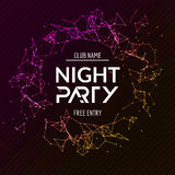 Night Party poster. Shiny banner club disco. Dj dance summer invitation Stock Image