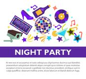 Night party promotional poster with attributes to have fun. Bottle of champagne, disco ball, glass of cocktail, vinyl disc, star shaped glasses and neon sign Royalty Free Stock Photo