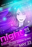Night party sexy girl poster. Nightclub disco party advertising billboard with sexy girl event poster vector illustration Royalty Free Stock Image