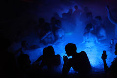 Night party in thermal bath in Budapest, Hungary. Royalty Free Stock Images
