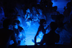 Night party in thermal bath in Budapest, Hungary. Stock Images