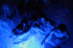 Night party in thermal bath in Budapest, Hungary. Stock Photos