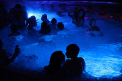 Night party in thermal bath in Budapest, Hungary. Stock Photo