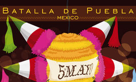 Night Party with Traditional Mexican Pinata for Cinco de Mayo, Vector Illustration Royalty Free Stock Image