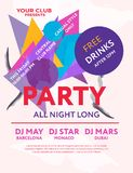 Night party. Web banner or print poster for party all night long. Great concept for club and party promotions and advertisement. Vector illustration, vector stock illustration