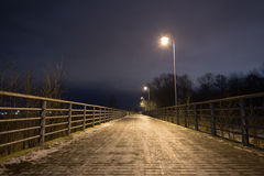 Night path in perspective. Estonia, Tallinn, night path in Rocca-al-Mare Stock Photo