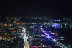 Night of Pattaya city from the height of bird flight. Stock Image