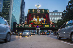 Night in Paulista Avenue - Christmas decorations Stock Image