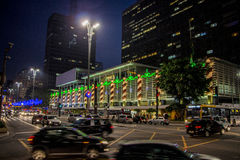 Night in Paulista Avenue - Christmas decorations Stock Photography