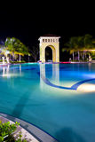 Night pavilion behind pool Stock Photography