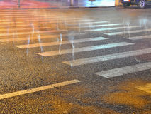 Night of pedestrian crosswalk Royalty Free Stock Images