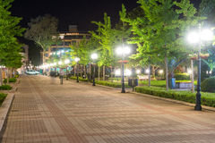 Night pedestrian street in the centre of old Pomorie in Bulgaria Royalty Free Stock Photo