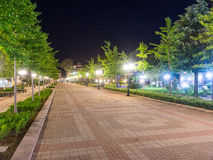 Night pedestrian street in the centre of old Pomorie in Bulgaria stock photos