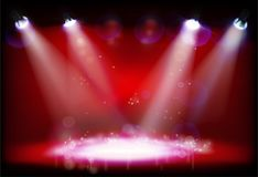Night performance. The stage with red lights. Vector illustration. Empty stage with red light effects. Night performance in the theater. Vector illustration Stock Image