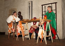 Night Performance Svihov Castle 2016. Yearly night performance in Water Castle Svihov (Western Bohemia, Czech Republic). Guards of the castle are having dinner Stock Photography