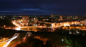 Night Perm. Russian city of Perm in the night. Road interchange. Torrent cars Stock Photo