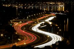 Night Perth city road lights Royalty Free Stock Image