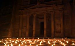 Night Petra show - amazing attraction Stock Photos