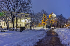Night photo of Alexander Nevsky Cathedral and Bulgarian parliament, Sofia Stock Photography