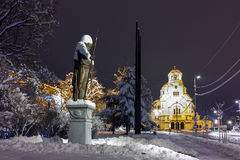 Night photo of  Alexander Nevsky square and Tsar Samuel Monument, Sofia Stock Image