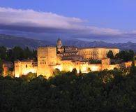 Night photo of the Alhambra Palace, in Granada, Andalusia, Spain Royalty Free Stock Photos