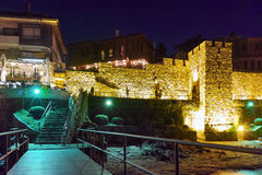 Night photo of ancient fortifications and old town of Sozopol, Bulgaria Stock Photo