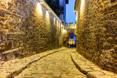 Night photo of ancient fortress entrance of old town of  city of Plovdiv, Bulgaria Stock Image
