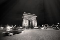 Night Photo of the Arch of Triumph in Paris. Night Photo of the Arc de Triomphe - Arch of Triumph, Paris Royalty Free Stock Photography