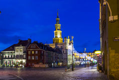 Night photo of beautiful historical city hall in Poznan,Poland Royalty Free Stock Photos
