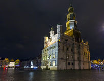 Night photo of beautiful historical city hall in Poznan,Poland Royalty Free Stock Photo