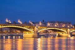 Night photo of beautiful illuminated bridge over the Danube river in Budapest. It is in Hungary. Night photo of beautiful illuminated bridge margit hid over the stock photos