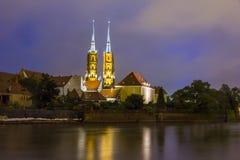 Night photo of beautifully illuminated St. John`s cathedral and Royalty Free Stock Photo