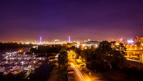 Night photo of Belgrade city. In long exposure shot with clear sky and beautiful city lights on the ground Stock Photo