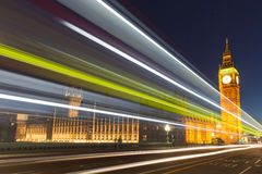 Night photo of the Big Ben, London, England Stock Images