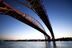 Night Photo Blue Water Bridge Royalty Free Stock Photos