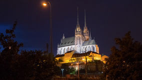 Night photo of Cathedral of St. Peter and Paul, Brno. Photo takes when walking through Opustena street with my girlfriend. It is a selection of the church royalty free stock photography
