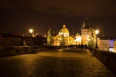 Night photo of  Charles Bridge in Prague Royalty Free Stock Photo