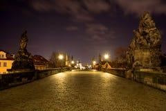 Night photo of  Charles Bridge in Prague Stock Photo