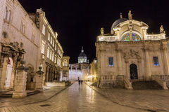 Night photo city inside walls dubrovnik Royalty Free Stock Photos