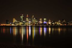 Night photo of the city of Perth, capital of Western Australia. Night long exposure of the landscape buildings of Perth, Western Australia. Perth on the Swan royalty free stock photos