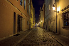 Night photo of a cobbled street in the old, historical part of P Royalty Free Stock Photography