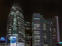 Night photo of Cocoon and L-building in Tokyo. Royalty Free Stock Images
