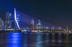 Night photo Erasmusbrug Rotterdam. The Rotterdam Erasmusbrug Netherlands in very special colors bij Night Stock Images