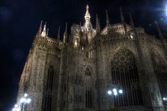 Night photo of the famous Cathedral Duomo di Milano on piazza in Milan Stock Photo