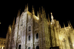 Night photo of the famous Cathedral Duomo di Milano on piazza in Milan Royalty Free Stock Photos