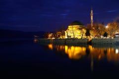 Night photo of Golyazi, Mosque, Bursa. Long exposure photo of turistic place of bursa and nice reflection of part of village Stock Photo